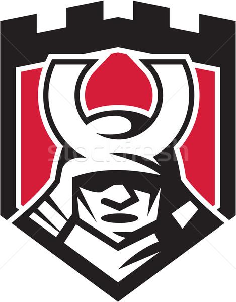 Samurai guerreiro máscara capacete escudo retro Foto stock © patrimonio