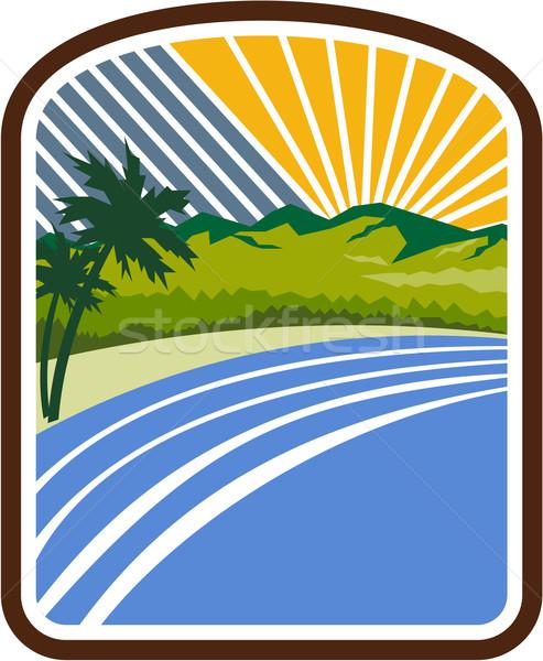 Tropical Trees Mountains Sea Coast Rectangle Retro Stock photo © patrimonio