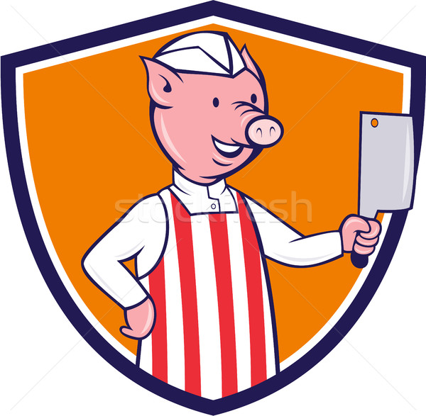 Butcher Pig Holding Meat Cleaver Crest Cartoon Stock photo © patrimonio