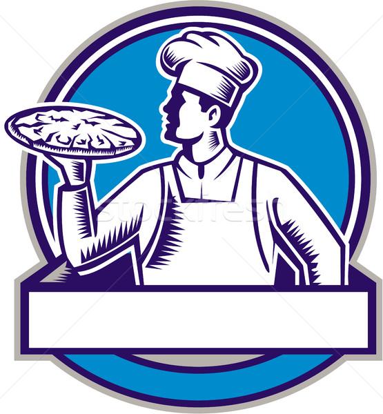 Pizza Küchenchef Servieren Kreis Illustration Bäcker Stock foto © patrimonio