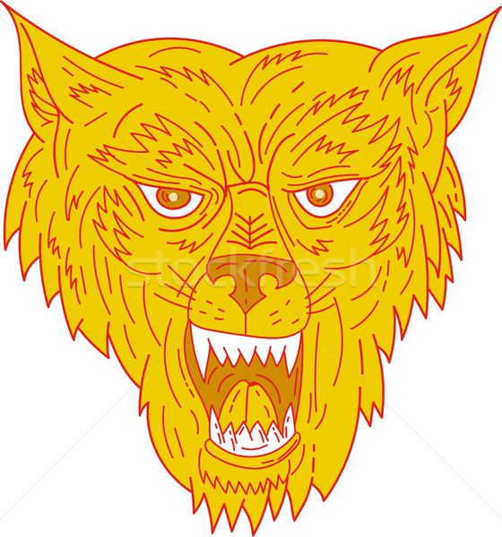 Angry Wolf Head Mono Line Stock photo © patrimonio