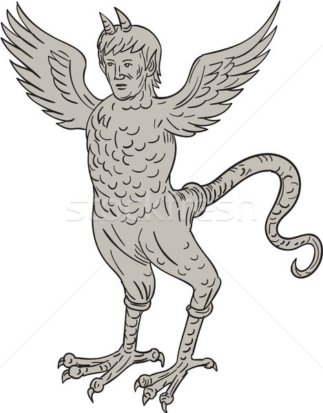 Ancient Winged Monster Drawing Stock photo © patrimonio