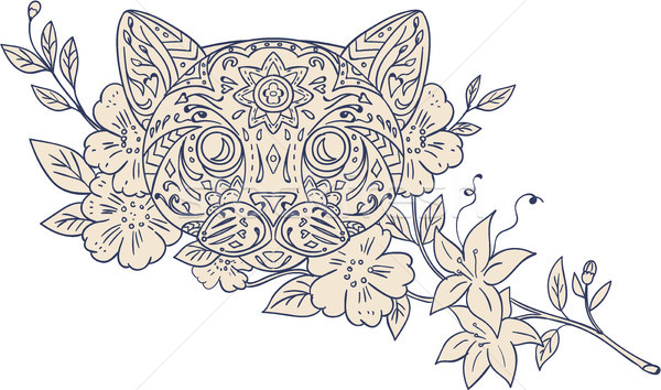 кошки голову цветок мандала стиль иллюстрация Сток-фото © patrimonio