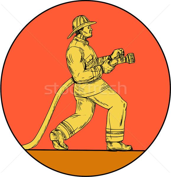 Bombeiro bombeiro fogo círculo desenho Foto stock © patrimonio