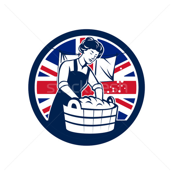 Brits wasserij union jack vlag icon retro-stijl Stockfoto © patrimonio