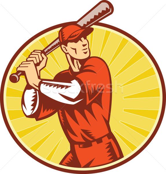 Jogador de beisebol bat estilo retro ilustração conjunto dentro Foto stock © patrimonio