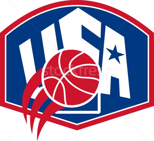 Foto stock: Estados · Unidos · EUA · americano · baloncesto · pelota · escudo