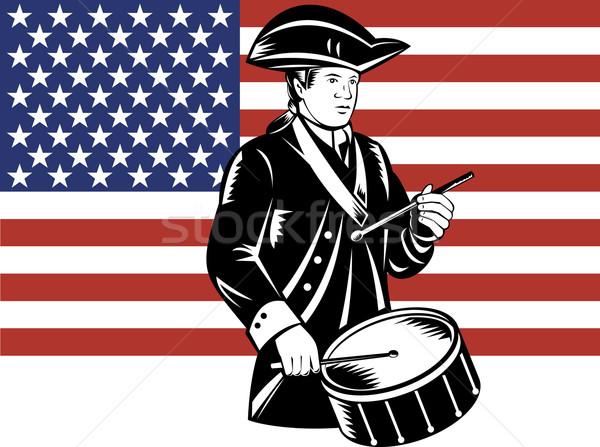 Amerykański patriota perkusista gwiazdki banderą Zdjęcia stock © patrimonio