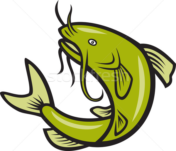 Catfish Fish Jumping Cartoon Stock photo © patrimonio