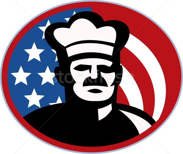 Amerikai szakács szakács pék csillagok csíkok Stock fotó © patrimonio