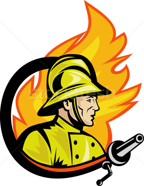Fireman or firefighter with fire hose Stock photo © patrimonio