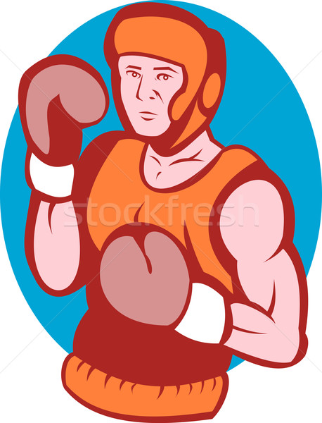 amateur boxer in fighting stance Stock photo © patrimonio