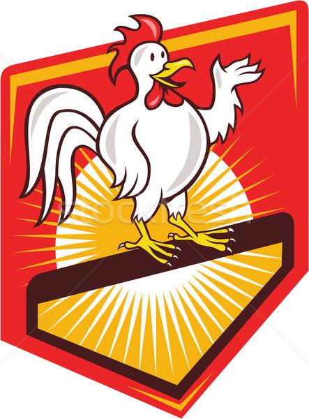 Rooster Cockerel Waving Hello Shield Cartoon Stock photo © patrimonio