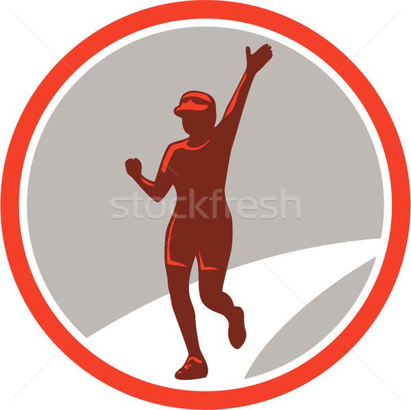 Kadın maraton koşucu çalışma daire Retro Stok fotoğraf © patrimonio