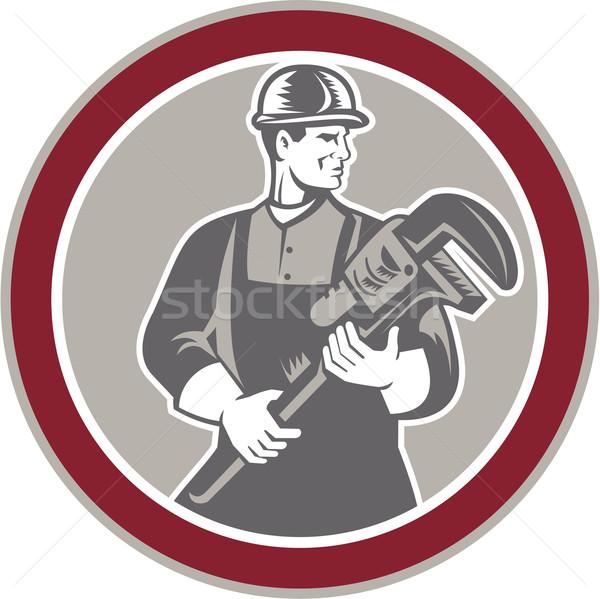 Plumber Holding Giant Wrench Woodcut Circle Stock photo © patrimonio