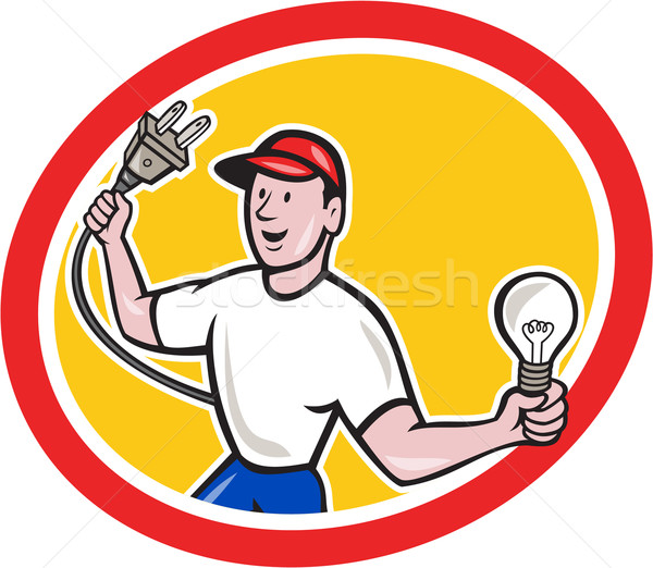 Electrician Holding Electric Plug and Bulb Cartoon Stock photo © patrimonio