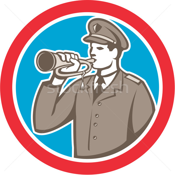 Soldier Blowing Bugle Circle Retro Stock photo © patrimonio