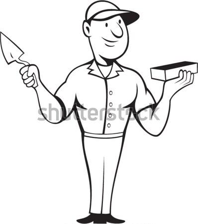 Bricklayer Mason Plasterer Standing Cartoon Stock photo © patrimonio