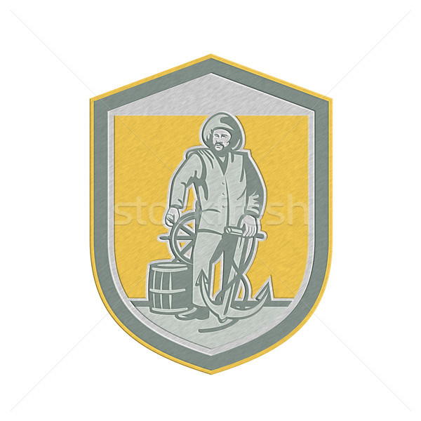 Metallic Fisherman Holding Anchor Wheel Shield Retro Stock photo © patrimonio