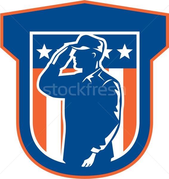 American Miilitary Serviceman Salute Side Crest Stock photo © patrimonio