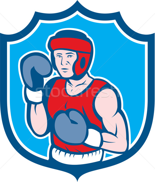 Amateur Boxer Stance Shield Cartoon Stock photo © patrimonio