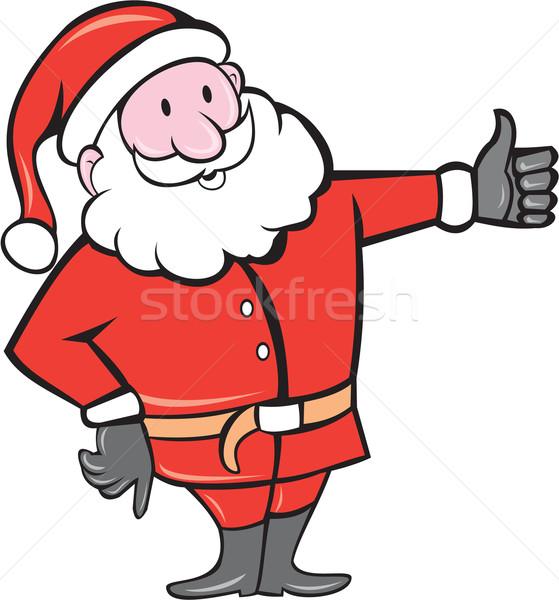 Santa Claus Father Christmas Thumbs Up Cartoon Stock photo © patrimonio
