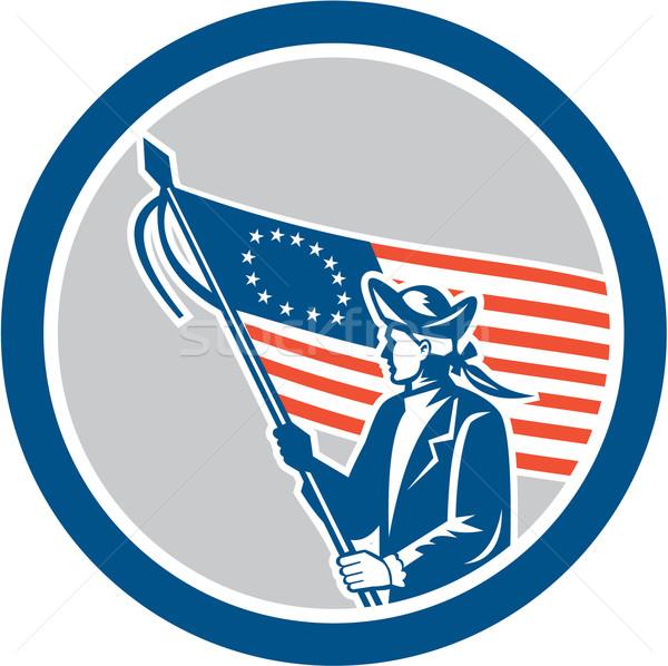 Amerykański patriota żołnierz banderą kółko retro Zdjęcia stock © patrimonio