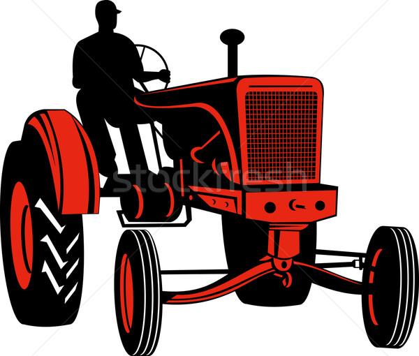 Bağbozumu traktör sürücü örnek kırmızı siluet Stok fotoğraf © patrimonio