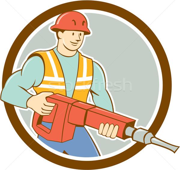 Construction Worker Jackhammer Circle Cartoon Stock photo © patrimonio