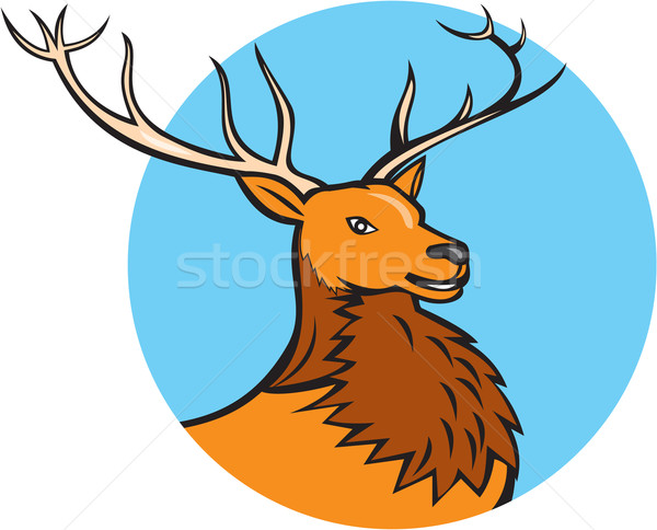 Red Stag Deer Head Circle Cartoon Stock photo © patrimonio
