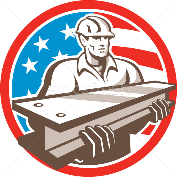Construction Steel Worker I-Beam USA Flag Circle Stock photo © patrimonio