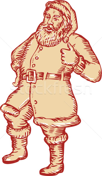 Santa Claus Father Christmas Thumbs Up Etching Stock photo © patrimonio