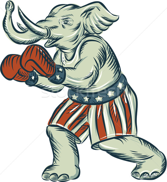Republican Elephant Boxer Mascot Isolated Etching Stock photo © patrimonio