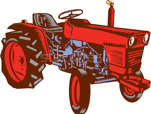 Vintage Farm Tractor Side Woodcut Stock photo © patrimonio