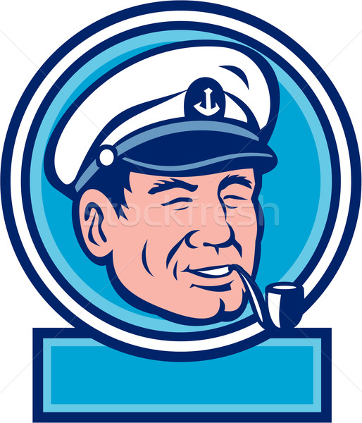 Sea Captain Smoking Pipe Circle Retro Stock photo © patrimonio