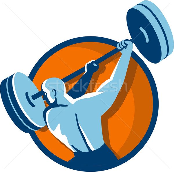 Weightlifter Swinging Barbell Back View Circle Retro Stock photo © patrimonio