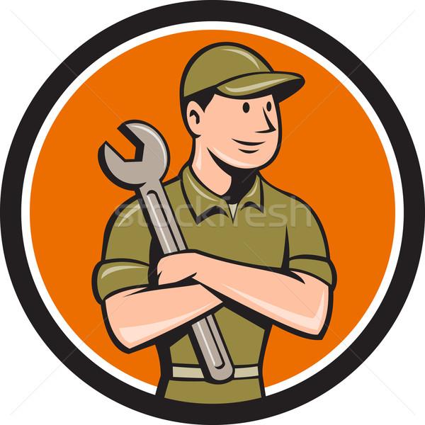 механиком гаечный ключ круга Cartoon иллюстрация Сток-фото © patrimonio