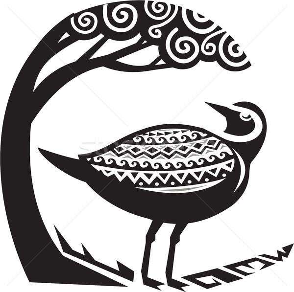 Golden Plover Standing Tree Tribal Art Stock photo © patrimonio