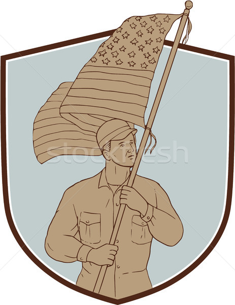 American Soldier Waving USA Flag Crest Drawing Stock photo © patrimonio