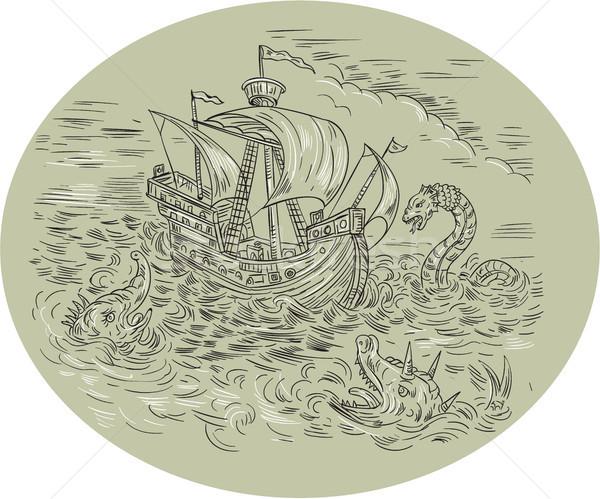 высокий судно морем овальный рисунок средневековых Сток-фото © patrimonio
