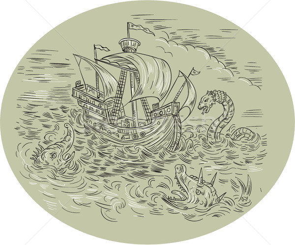 Tall Ship Turbulent Sea Serpents Oval Drawing Stock photo © patrimonio