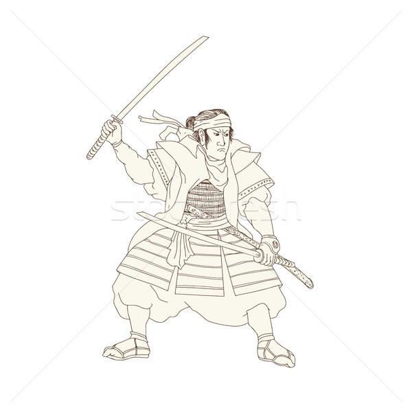 Samurai Warrior Katana Fight Stance Woodblock Stock photo © patrimonio