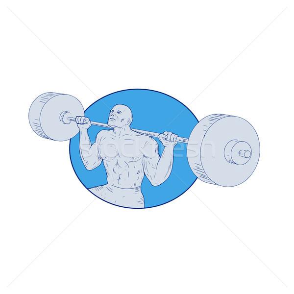Strongman Powerlifting Barbell Drawing Stock photo © patrimonio