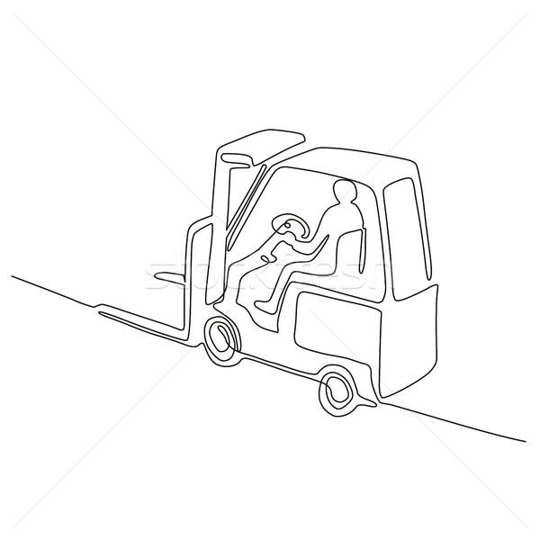 Forklift Truck Continuous Line Stock photo © patrimonio