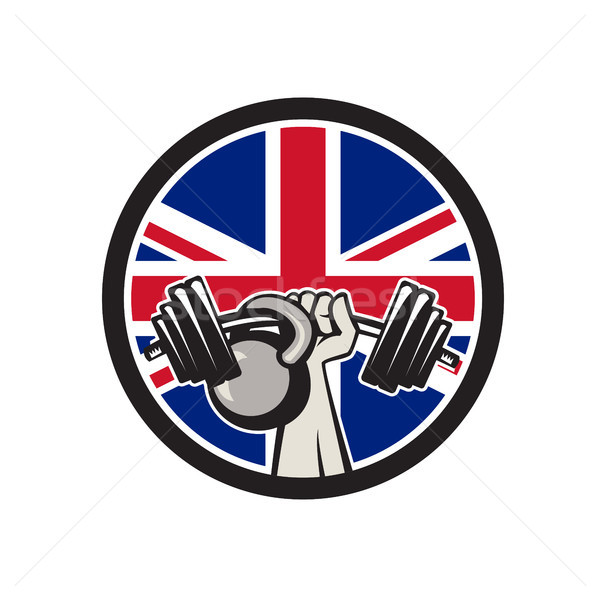 British Hand Lift Barbell Kettlebell Union Jack Flag Icon Stock photo © patrimonio