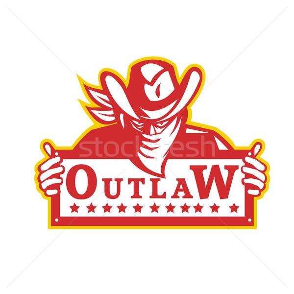 Outlaw Holding Sign Retro Stock photo © patrimonio