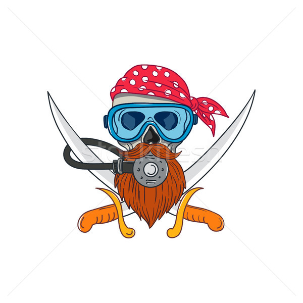 Stock photo: Pirate Skull Beard Diving Mask Drawing
