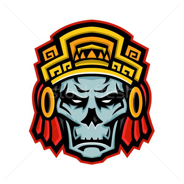 Războinic craniu mascota icoană ilustrare nobil Imagine de stoc © patrimonio