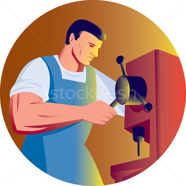 Commercio operaio lavoro trapano stampa illustrazione Foto d'archivio © patrimonio