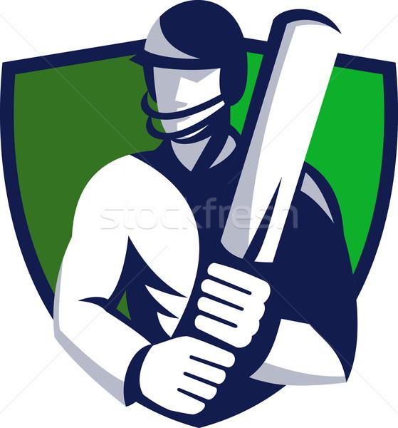 cricket player batsman with bat shield Stock photo © patrimonio